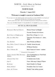 2019 Thursday concert programme